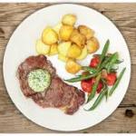 Steak with Mustard Butter & BBQ Potatoes