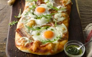 Bacon & Egg Pizza with Basil Oil