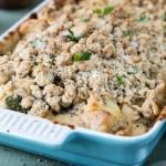 Chicken, Mushroom & Spinach Crumble