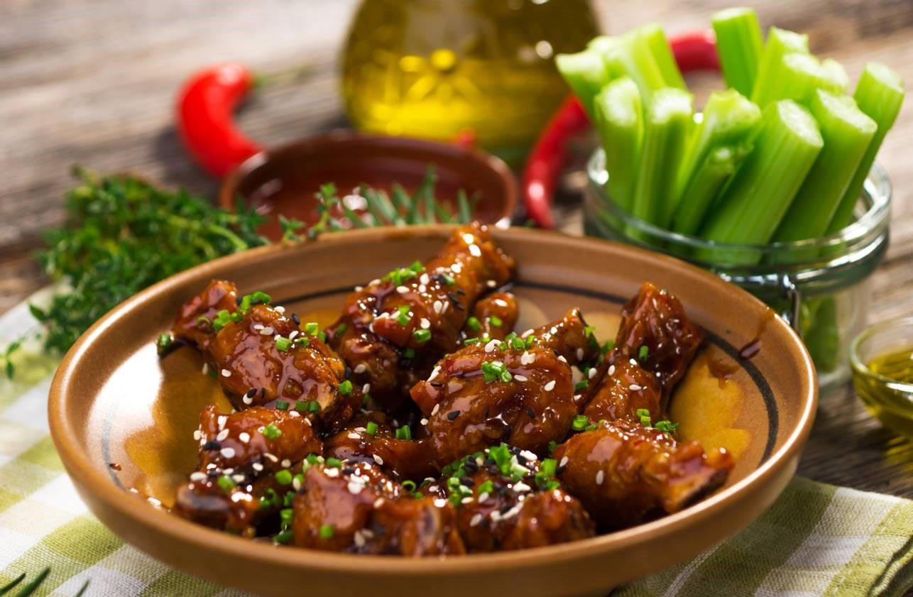 Sticky Chicken Wings with Ballymaloe Steak Sauce